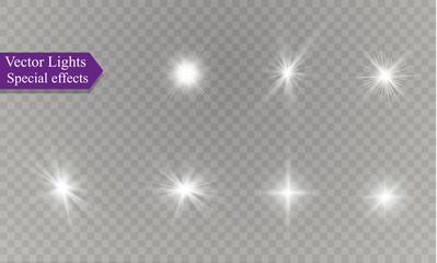 Fototapeta star on a transparent background,light effect,vector illustration. burst with sparkles. obraz