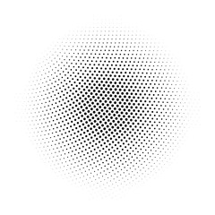 Black abstract halftone circle made of dots in radial arrangement on white background. Vector illustration.