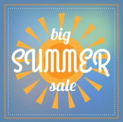Big summer sale illustration. Orange sun and frame on blue background