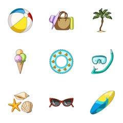 Beach, palm tree, ice cream.Summer vacation set collection icons in cartoon style vector symbol stock illustration web.