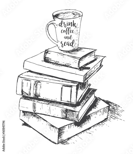 quotvector sketch drawing with cup and books drink and read