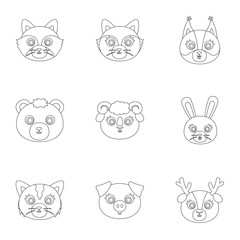 Wild and domestic animals. A set of pictures about animals. Animal muzzle icon in set collection on outline style vector symbol stock illustration.