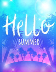 Summer poster with palm and lettering. Hello summer. Vector template for party invitation