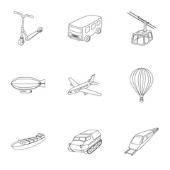 Set of pictures about types of transport. Transportation of people, cargo. Ground, underwater, air transport. Transport icon in set collection on outline style vector symbol stock illustration.