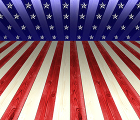 USA white, red, and blue stripes, with geometric line for background, white stars perpective.
