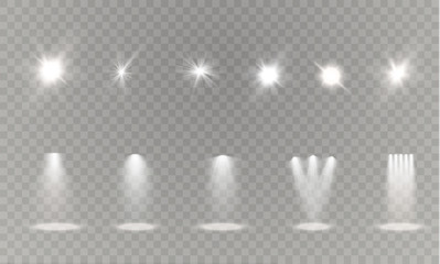 Realistic white gray glowing spotlights on transparent laid background. Theater studio, scene illumination. Magic, bright, gradient light effects. Wall mural