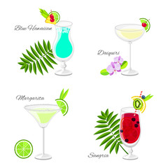 Set of summer cocktails cartoon style