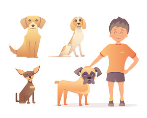 Boy with his dog. Vector illustration in flat design
