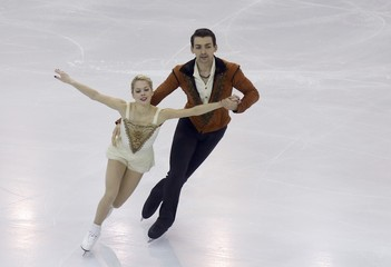 Scimeca and Knierim of the U.S. perform during the pairs free skating program at the ISU Grand Prix of Figure Skating final in Barcelona