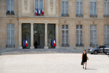 French Overseas Minister Annick Girardin leaves the weekly cabinet meeting at the Elysee Palace in Paris, France