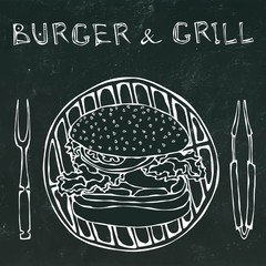 Big Hamburger or Cheeseburger with BBQ Grill, Tongs and Fork for Barbecue. Burger Lettering. Isolated on a Black Chalkboard Background. Realistic Hand Drawn Sketch Vector Illustration.