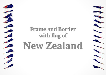 Frame and border with flag of New Zealand. 3d illustration