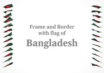 Frame and border with flag of Bangladesh. 3d illustration