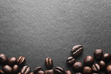Coffee Beans on black background,top view.