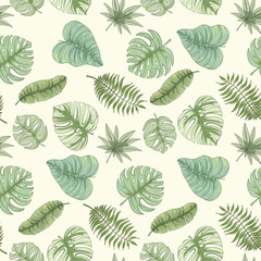 Seamless tropical palm leaves pattern