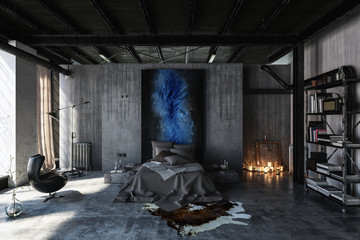 Bedroom in black and grey interior design