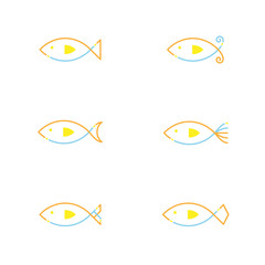 Fish icon outline stroke set dash line design illustration orange yellow and blue color isolated on white background, vector eps10