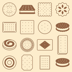 cookie, cracker and biscuit, silhouette icon collection set 2/3