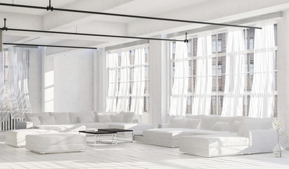 Spacious bright room with white couches