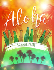 Beer summer party poster. Aloha summer party. Beer bottles and beach landscape