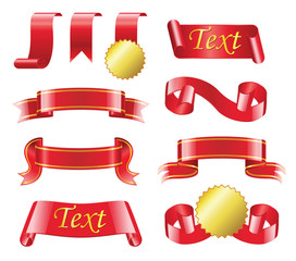 Award Ribbon - realistic vector set of red bands