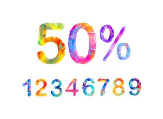 SALE Percents. Vector triangular numbers