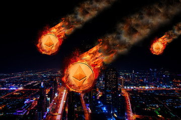 Concept of  Ethereum Price falling