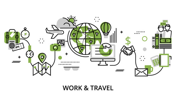 Concept of work and travel in greenery color
