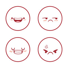 Kawaii emoticon set. Facial expression. Happy, angry faces. Funny cartoon character. Vector stock.