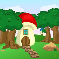 Mushroom houses in the garden
