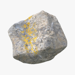 Stone isolated on white. 3D illustration