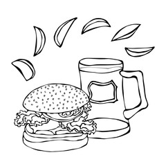 Big Hamburger or Cheeseburger, Beer Mug or Pint and Fried Potato. Burger Lettering. Isolated On a White Background. Realistic Doodle Cartoon Style Hand Drawn Sketch Vector Illustration.