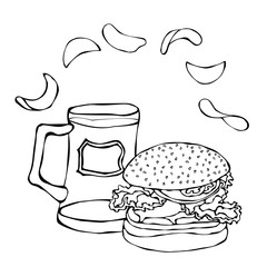 Big Hamburger or Cheeseburger, Beer Mug or Pint and Potato Chips. Burger Logo. Isolated On a White Background. Realistic Doodle Cartoon Style Hand Drawn Sketch Vector Illustration.
