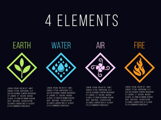 Nature 4 elements in diamond line border abstract gradient icon sign. Water, Fire, Earth, Air. on dark background.
