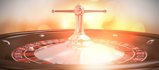 Composite image of close up image of 3d roulette wheel