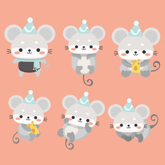 A funny set mice in a cartoon style.