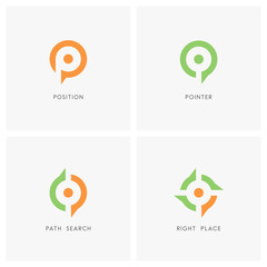 Position pointer logo set. Place or address symbol, path search and target sign - location, destination and navigation icons.
