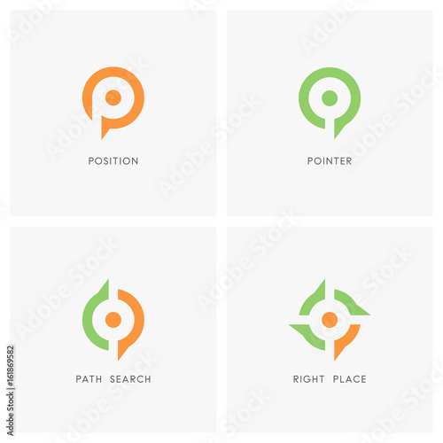 Position Pointer Logo Set Place Or Address Symbol Path Search And