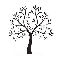 Natural Tree with Leaves. Vector Illustration.