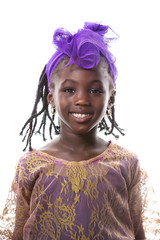 Beautiful portrait of a happy african little girl smiling.Isolated