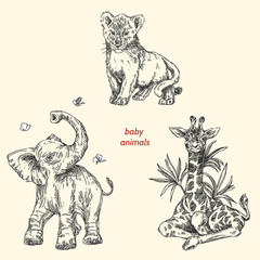 Set of baby animals. Wild. Giraffe, elephant, lion. Vintage style. Vector illustration.