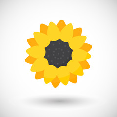 Sunflower plant vector flat icon