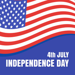 July 4 Independence Day in the United States. Flag of the USA. Vector illustration