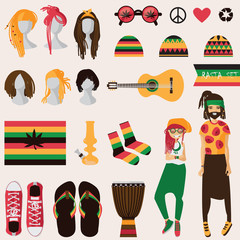 Rastafarian subculture. Couple of young rastaman woman and man with dreadlocks in rasta clothes, set of different objects isolated on background as sneakers, bong, guitar, hairstyles for her and him