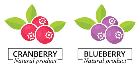 cranberry and blueberry label