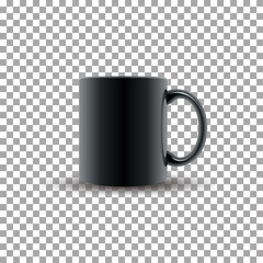 Realistic black ceramic cup on transparent background. Vector illustration.