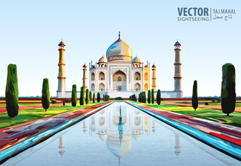 The Taj Mahal. White marble mausoleum on the south bank of the Yamuna river in the Indian city of Agra, Uttar Pradesh. Temple. Ancient Palace. Vector illustration. Fototapete