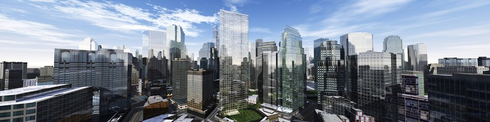 Poster Blue sky Beautiful view of the skyscrapers, modern city landscape, 3d rendering