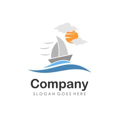 Cruise and sailing boat logo design vector