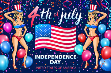 illustration of a girl celebrating Independence Day Vector Poster. 4th of July Lettering. American Red Flag on Blue Background. ballon. confetti.
